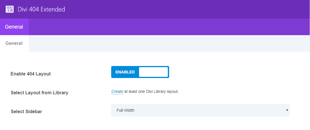 Setting panel for Divi 404 Extended plugin